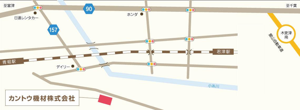 カントウ機材への地図